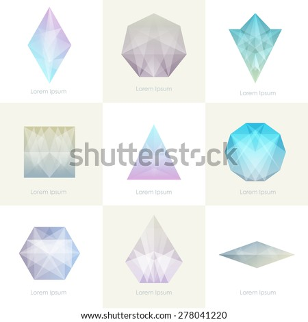 Premium colorful collection. Set of trendy soft mesh facet crystal gem geometric logo icons and abstract shapes for business visual identity- triangle, polygons and rectangular designs. Vector diamond - stock vector