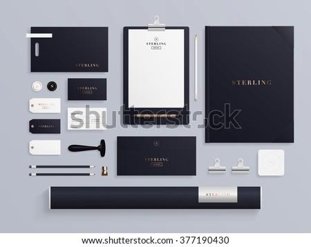 Premium corporate identity template set. Business stationery mock-up with logo sample. Set of envelope, notebook, card, folder, paper bag, etc. Vector illustration. - stock vector