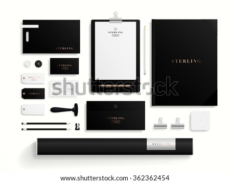 Premium corporate identity template set. Business stationery mock-up with logo template. Set of envelope, notebook, card, folder, paper bag, etc. Vector illustration. - stock vector