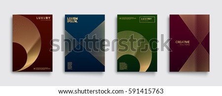 Premium Covers with gold line shapes. Applicable for Banners, Placards, Posters, Flyers etc. Eps10 vector template.