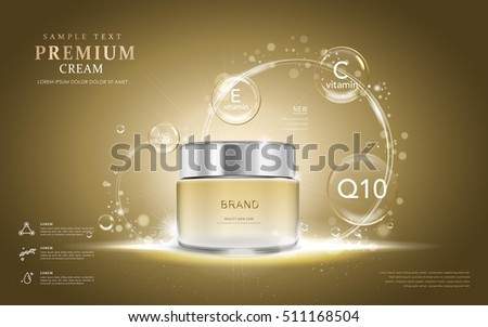 Premium cream ads, translucent cream bottle with ingredients on the bubbles. 3D illustration.