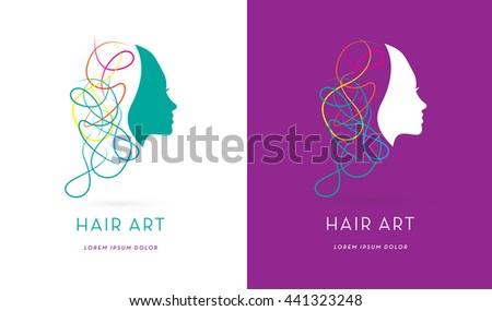 PREMIUM DESIGN , MODERN HAIR LOGO / ICON  - stock vector