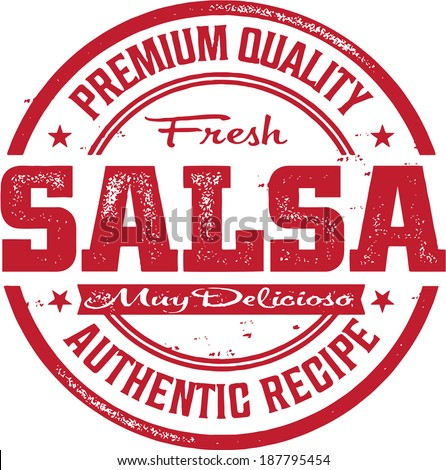 Premium Fresh Mexican Salsa Stamp - stock vector