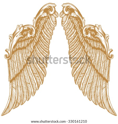 Premium Gold Hand drawn angel wings | illustration of a pair of angel or eagle wings spread | tattoo, tattoo art - stock vector