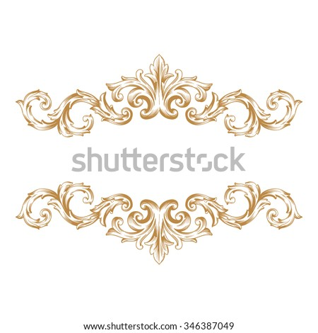 Premium Gold Vintage Baroque Frame Scroll Ornament Engraving Border Floral Retro Pattern Antique Style Acanthus Foliage