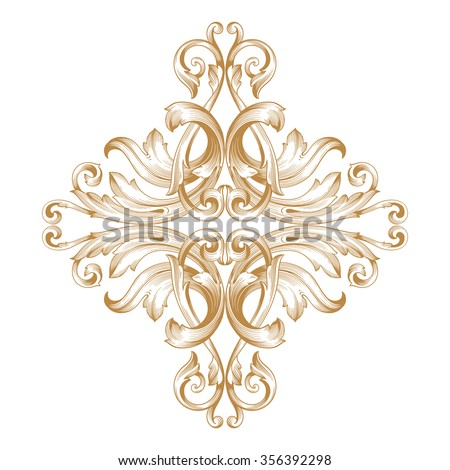 Ornament sets 3d embossed pattern stock illustration for Baroque design elements