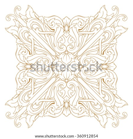 Premium Gold vintage baroque frame scroll ornament engraving border floral retro pattern antique style acanthus foliage swirl decorative design element filigree calligraphy