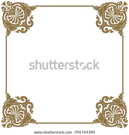 Premium gold vintage baroque frame scroll ornament engraving border floral retro pattern antique style acanthus foliage swirl decorative design element filigree calligraphy - vector
