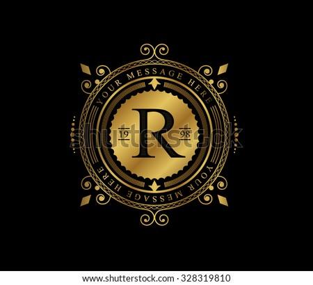 Premium golden frame. Elegant logo. Royal flourishes calligraphic. Luxury ornament lines. Vector. R monogram. - stock vector