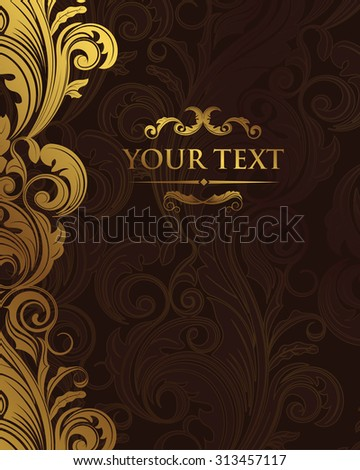 Premium gorgeous victorian baroque  dark brown floral classic background vector design for restaurant menu, book cover, cd cover, visit card, flyers, brochure, wall paper, backdrops