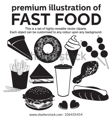 premium illustration of fast food - stock vector