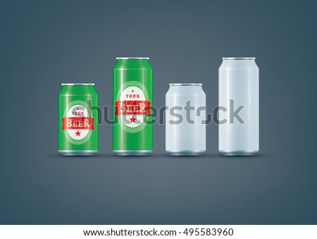 Premium photo-realistic layered vector mock-up set of beer/drink can ready for to showcase your design. Vector file can be scaled to any size you want.