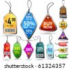 Premium price tags. 11 different shapes. Good looking in small size. - stock vector