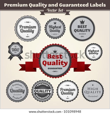 Premium Quality and Guaranteed Labels. Vintage styled design labels - stock vector