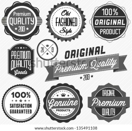 Premium Quality and Satisfaction Guarantee Label Collection in Vintage Style - stock vector