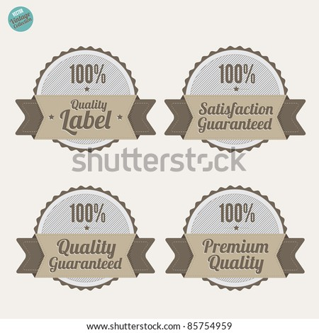 Premium Quality and Satisfaction Guarantee Labels,  with retro vintage design - stock vector