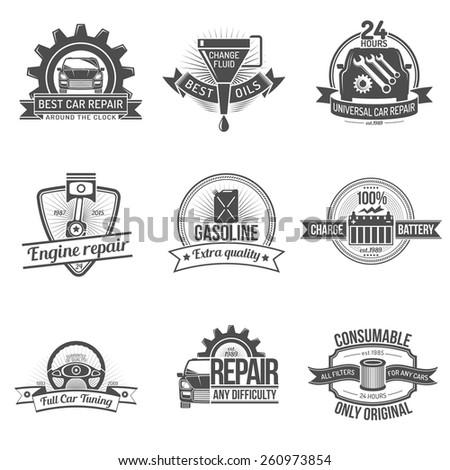 Premium quality auto service car repair industry emblem set isolated vector illustration - stock vector