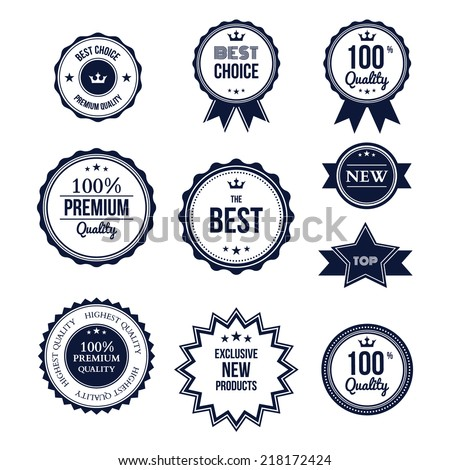Premium quality best choice labels set isolated vector illustration - stock vector