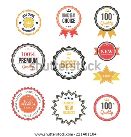 Premium quality best choice labels set isolated vector illustration