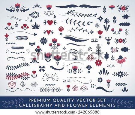 Premium quality calligraphic and floral elements - stock vector