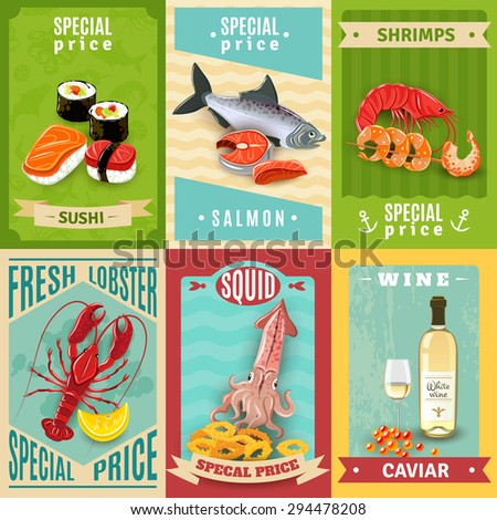 Premium quality fish and seafood mini poster set isolated vector illustration - stock vector