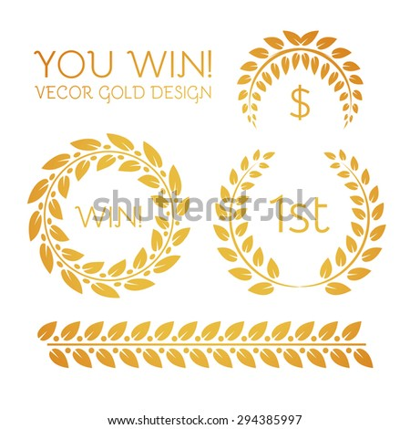Premium quality gold laurel wreath & border set. Luxury & success design. Vector illustration