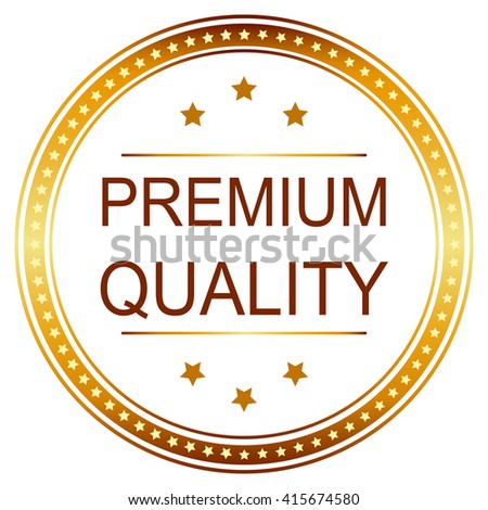 Premium Quality Golden Badge and seal.  - stock vector
