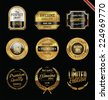 Premium quality golden labels and badges - stock vector