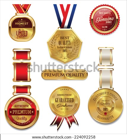 Premium quality golden medal collection - stock vector
