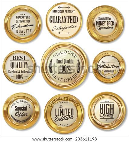 Premium quality golden metal badges  - stock vector