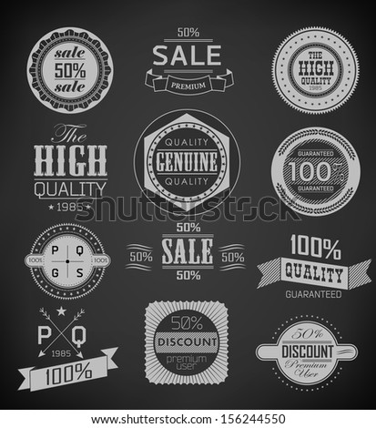 Premium Quality, Guarantee and sale Labels  and typography design drawing with chalk on blackboard/ collection - stock vector