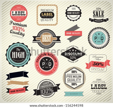Premium Quality, Guarantee and sale Labels  and typography design/ vector illustration - stock vector