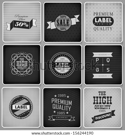 Premium Quality, Guarantee and sale Labels design drawing with chalk on blackboard.  Vector illustration