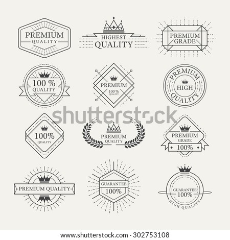 Premium Quality Guarantee Labels and Badges, Linear Design Style - stock vector