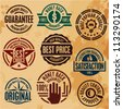 premium quality guarantee stamps labels set collection - stock photo