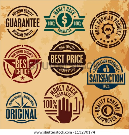 premium quality guarantee stamps labels set collection - stock vector