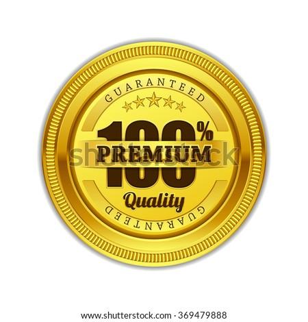 Premium Quality Guaranteed Gold Seal Vector Icon Design - stock vector