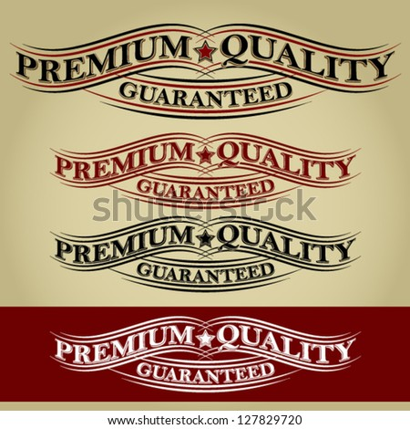 Premium Quality Guaranteed  Retro Calligraphic Ribbon - stock vector