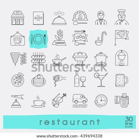 Premium quality kitchen and restaurant icons. Collection of line food and beverage icons. Vector illustration.  - stock vector