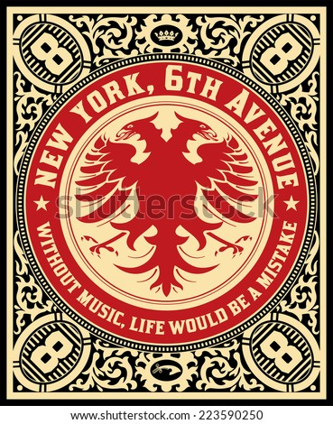 Premium Quality label. Baroque ornaments and floral details. - stock vector