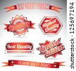premium quality labels in red - stock vector