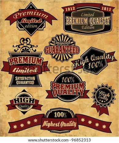 Premium Quality Labels - nine design elements with retro vintage design - stock vector