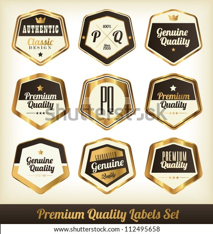 Premium Quality Labels Set - Gilded Edition - stock vector