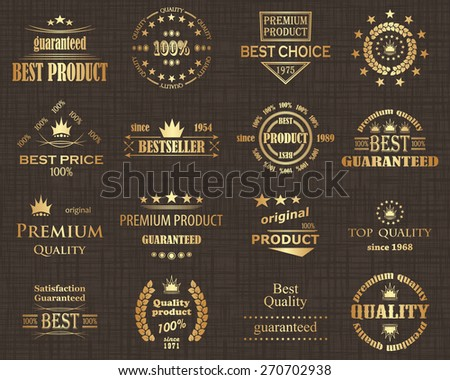 Premium quality labels set. Retro style. Vintage Luxury Design        - stock vector