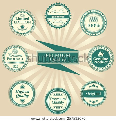 Premium quality labels set. Retro Vintage Design. Round labels       - stock vector
