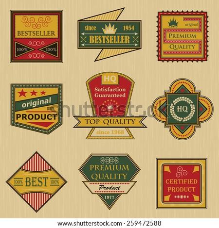Premium quality labels set. Retro Vintage Design. Vintage collection    - stock vector