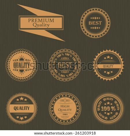 Premium quality labels set. Vintage Design. Round labels. Grunge background       - stock vector