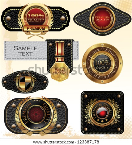 Premium quality leather labels - stock vector