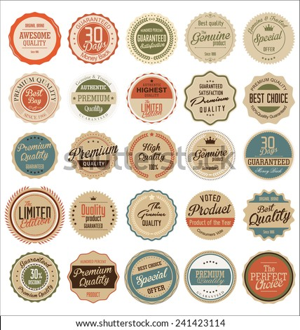 Premium quality retro badges - stock vector