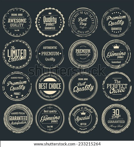 Premium quality retro grunge badges collection - stock vector